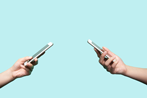 Two Phone Users Facing Each Other